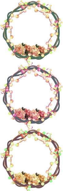 卡通植物花卉玫瑰花边框图案
