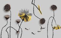 莲花背景墙