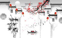 梅花树背景墙