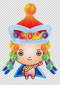 蒙古族民族小女孩