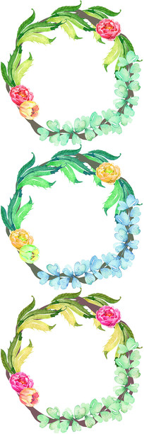 手绘植物树叶花藤花圈边框图案