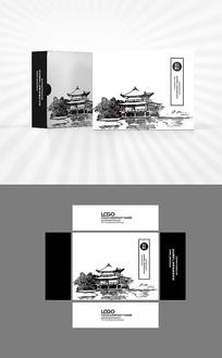 手绘中国风建筑包装盒设计