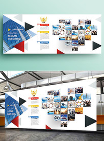 红色几何企业文化墙照片墙展板