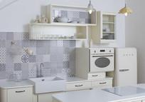 简约墙砖纹路室内厨房意向