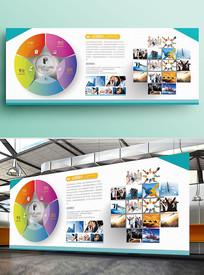 蓝色简约企业文化墙照片墙展板
