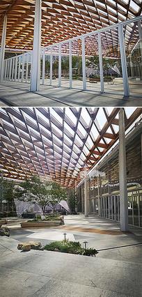 木质镂空建筑屋顶景观