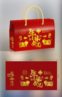 年味食足红色猪年春节礼盒包装