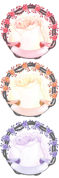 森系手绘植物花卉边框图案