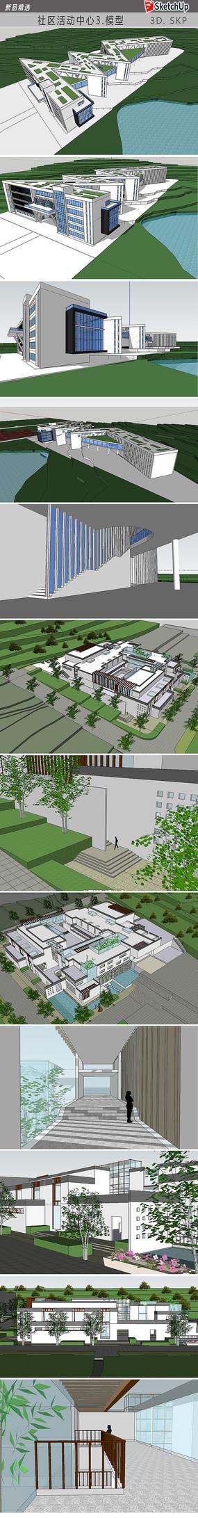 社区景观建筑模型