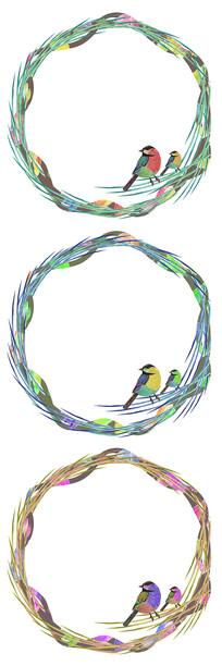 小清新水彩手绘小鸟花环边框图案