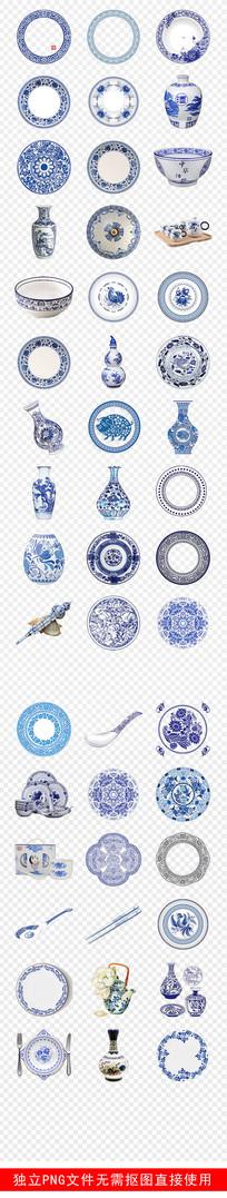 古典传统青花瓷花纹PNG素材