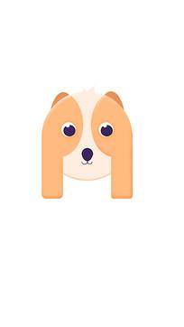 可爱2.5d狗狗插画模板