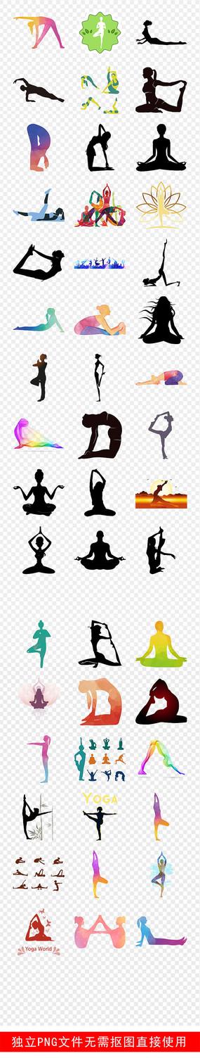瑜伽美女人物剪影素材PNG