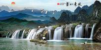 风景如画仙鹤瀑布山水图背景墙