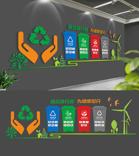校园卫生角垃圾分类文化墙