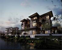 低层住宅河边景观效果图