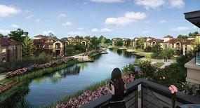 河道别墅景观透视图