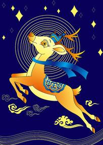 矢量鹿创意插画设计