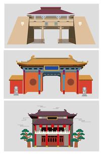 中国风扁平建筑物插画