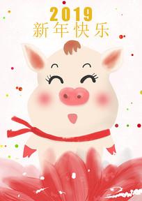 2019猪猪新年快乐海报