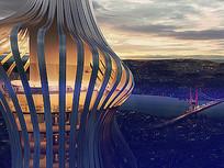 超高层观景酒店建筑设计 JPG
