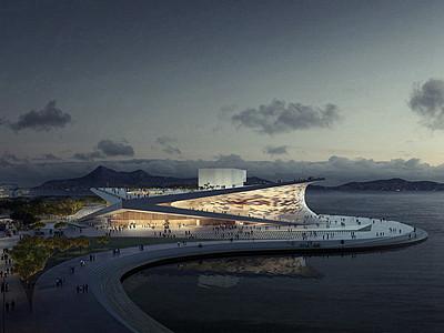大型滨水商业建筑景观图片