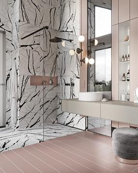 粉色黑白瓷砖洗手间意向 JPG