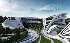 建筑景观一体化校园景观