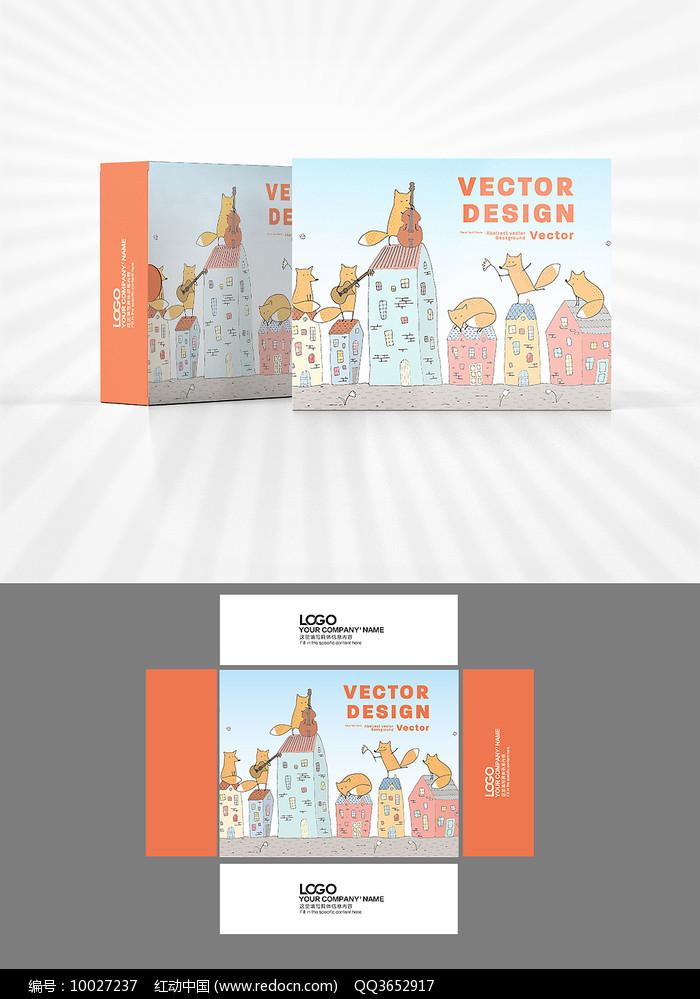 卡通形象包装盒设计AI矢量图片