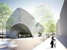 现代不规则艺术馆建筑