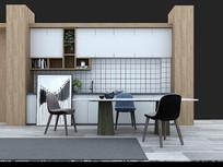 现代厨房餐厅桌椅组合