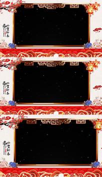 中国风金色边框祝福透明边框