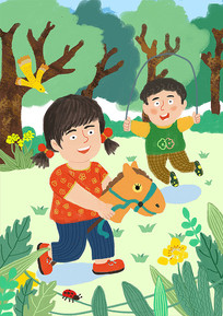 扁平化美好六一一儿童节插画