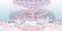 粉紫色主题婚礼背景板