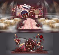 红色系宝宝宴背景板