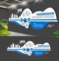 简单波浪蓝色企业文化墙
