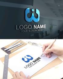 W字母电子科技电器LOGO
