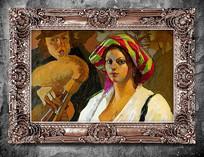 带头巾妇女古典油画