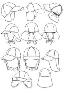 儿童帽子款式图手稿矢量图