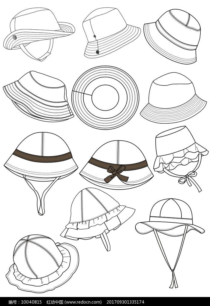 服饰配件太阳帽矢量图图片