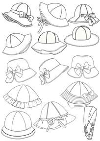 服装配件儿童太阳帽款式图