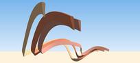 流线型图案雕塑SU模型