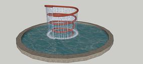 庭院水景雕塑SU模型
