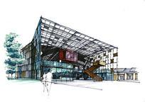 现代玻璃商务建筑手绘