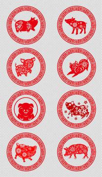 猪年生肖剪纸图案