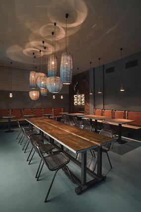 薄荷绿元素餐厅灯光效果 JPG