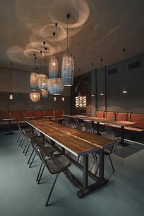 薄荷绿元素餐厅灯光效果