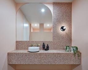 创意粉色水磨石元素洗手台意向