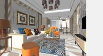 多彩的客厅室内场景模型
