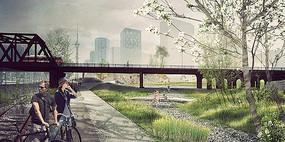 火车轨道景观绿化